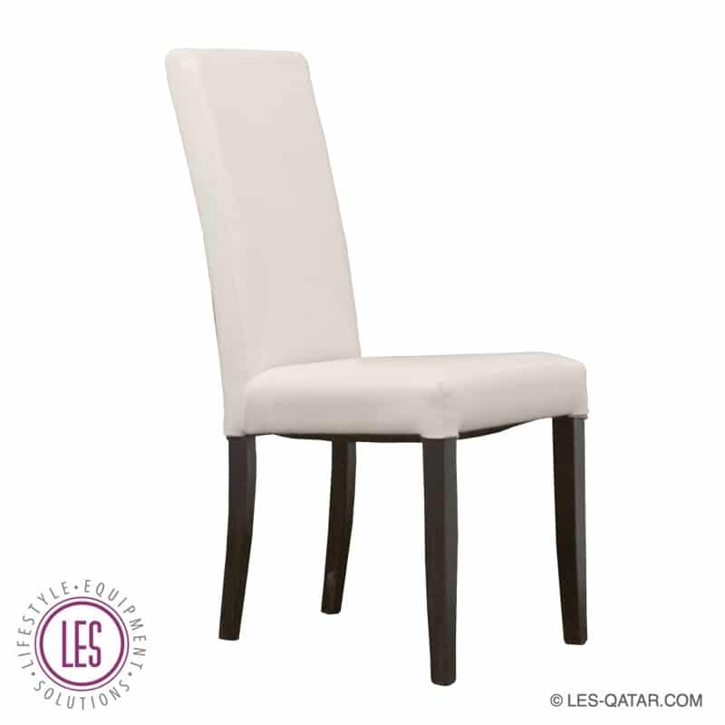 LES Wooden Gala Chair – Upholstered with White Fabric – LES000047
