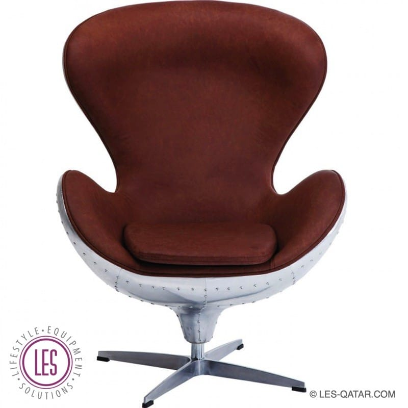 LES Soho Big Boss Swivel Armchair – Brown with Aircraft Aluminum- LES000064