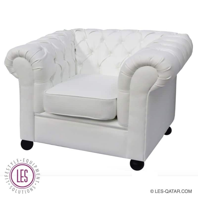 LES Chesterfield Leather Armchair – White – Classic- LES000075