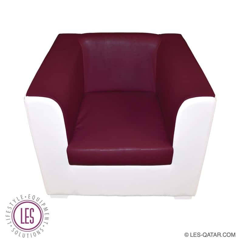 LES VIP Qatar Leather Single Seater – Maroon White – LES000073