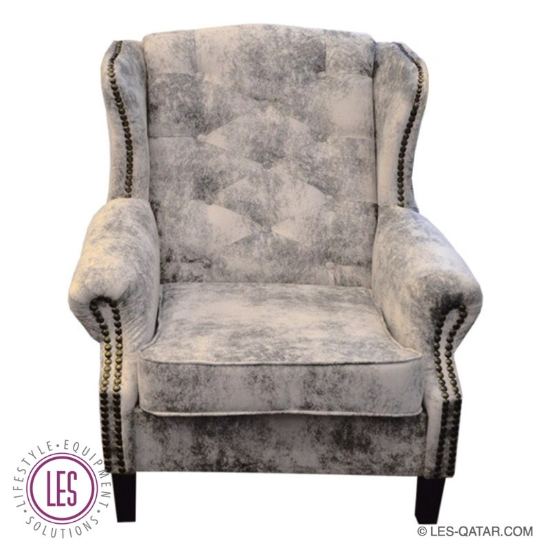 LES Luxury Fabric Wing Chair – Marble Pattern – LES000070