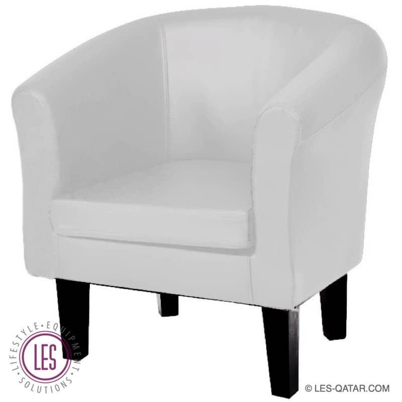 LES Classic Leather Armchair – White – LES000077A
