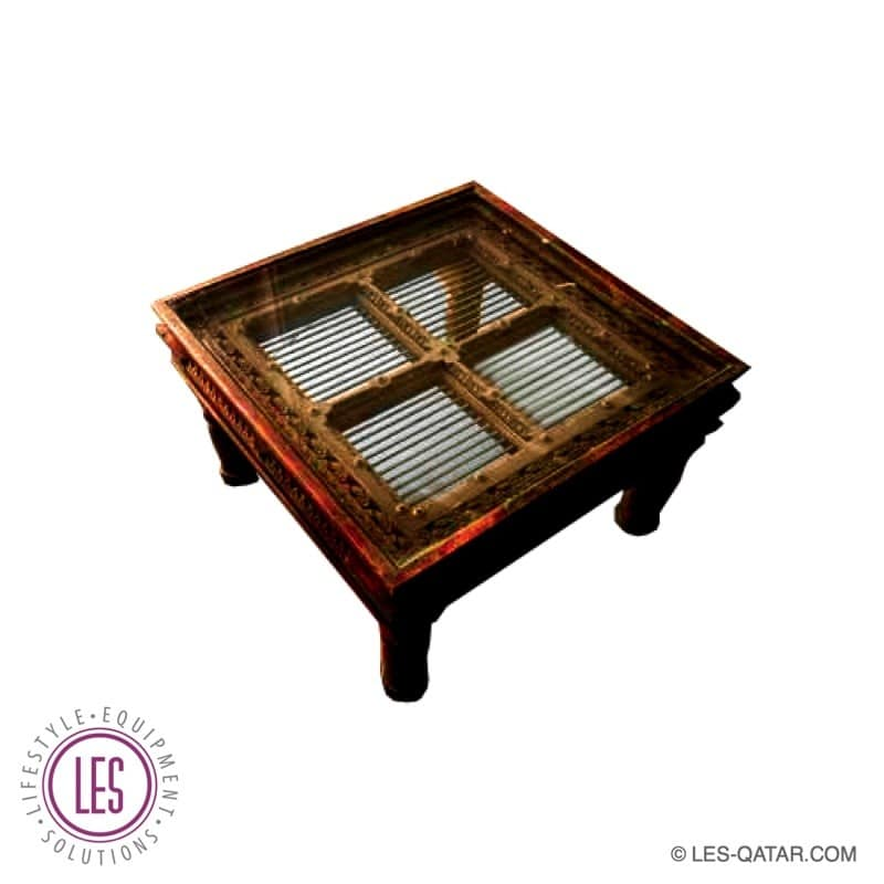 LES square Arabic style coffee table with glass top – handcrafted – LES000198