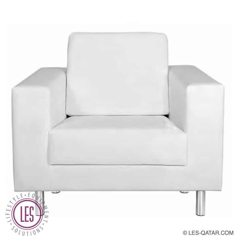 LES VIP Leather Lounge Single Seater – White – LES000071A