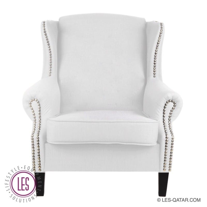 LES VIP Leather Wing Chair – White – LES000067