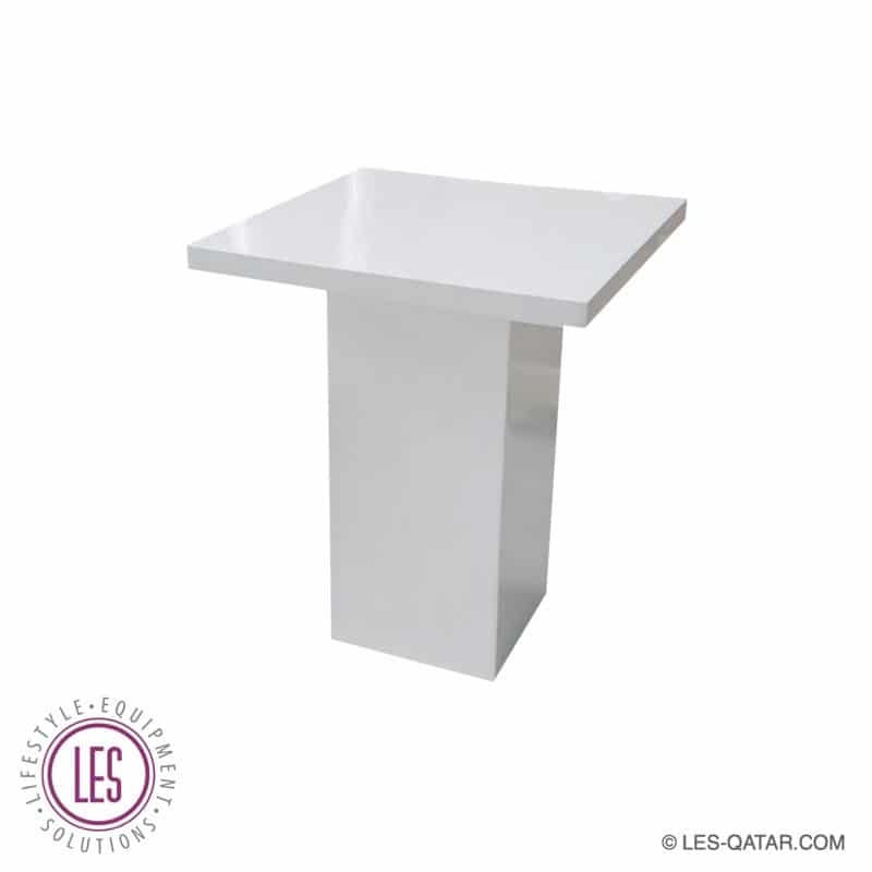 LES Wooden Square Column Coffee Table – White – LES000029