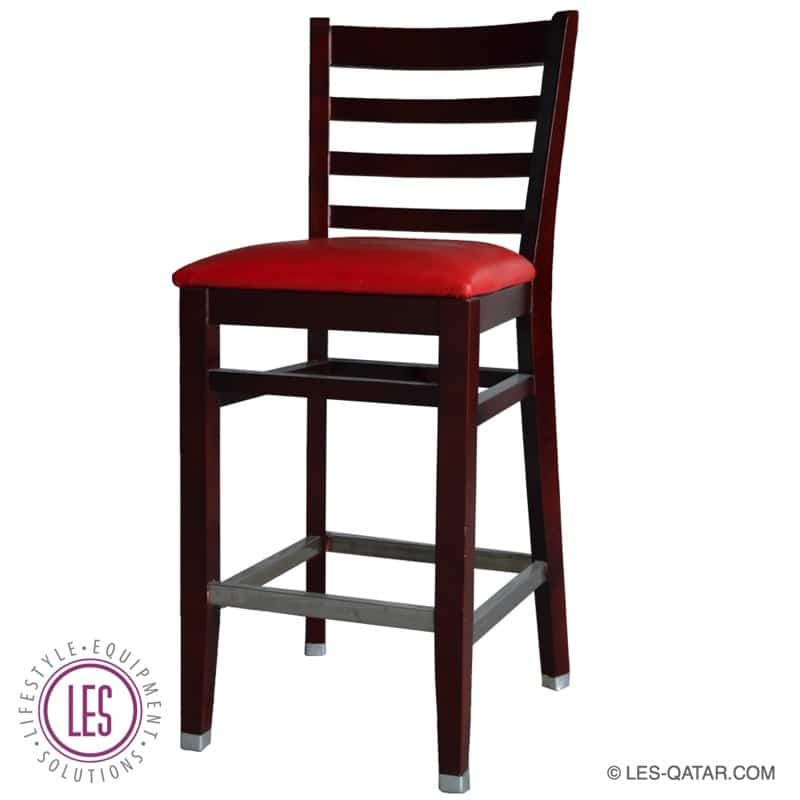 LES Wooden Vintage Design High Chair – Red Upholstered – LES000244A