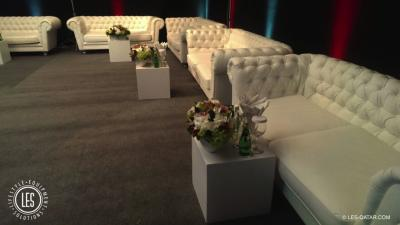 LES VIP Chesterfield three Seater white